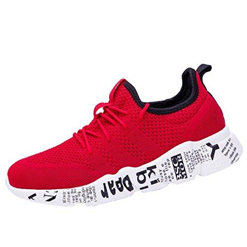 Zapatillas Hombre ZARLLE Zapatillas Running Hombre Zapatillas Deportivas Hombre De Cordones En Gimnasio Aire Libre Y Deporte Transpirables Casual Zapatos Gimnasio Correr Sneakers (44 EU, Rojo)