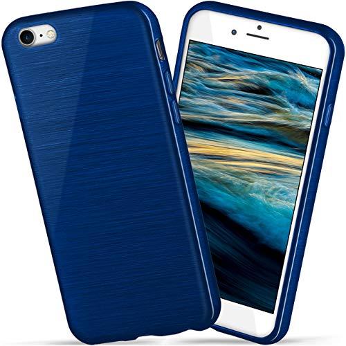 moex Apple iPhone 7/8 | Hülle Silikon Blau Brushed Back-Cover TPU Schutzhülle Ultra-Slim Handyhülle für iPhone 7/8 Case Dünn Silikonhülle Rückseite Tasche