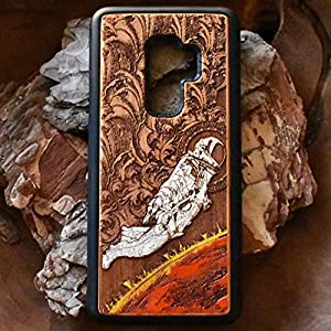 Wood Phone Case Compatible with iPhone XR, Samsung Galaxy S9 Plus Real Wood, XS / 8/7 / 6 / Note 9 / S10 / P20 / Mate 20 Pro Unique Hand Painted Phone Cases Astronaut Space