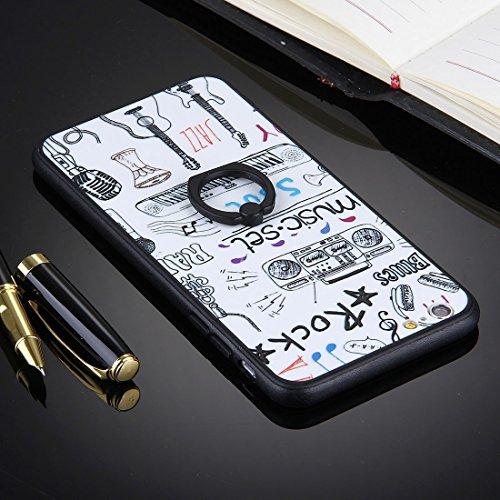 Phone case & Hülle Für iPhone 6 Plus / 6s Plus, geprägter weißer Hintergrund Musikinstrumente Muster TPU Stoßfänger Rahmen PC Schutzmaßnahmen Rückseiten Fall Fall mit Ring Halter Stand ( SKU : Ip6p103 Ip6p1031f