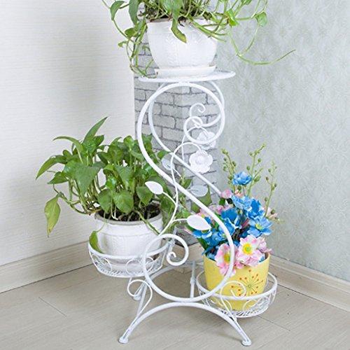 WSSF- Supports de pots Support de fleur de fer multicouche étage fleur pot étagère style européen intérieur et extérieur salon balcon fleur présentoir, 32 * 65cm ( Couleur : Noir )