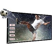 Docooler &apos H120 120 pantalla de proyección portátil HD 16: 9 Blanco 120 pulgadas pantalla para proyección Diagonal Teatro Doméstico plegable para Wall ...