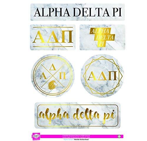 Alpha Delta PI-Aufkleber Blatt-Marmor Thema - Delta Delta Geschenke Delta Sorority