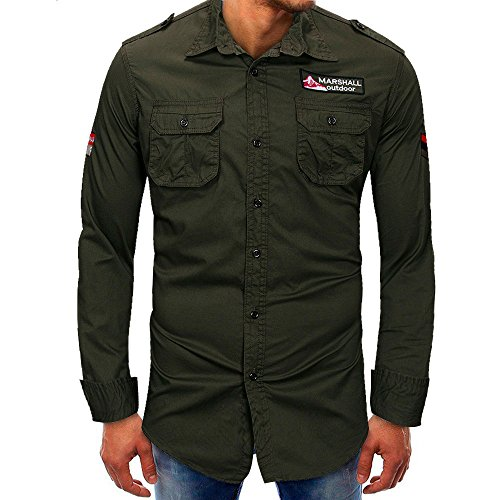 Hombre camisa manga larga Otoño,Sonnena ❤️ Camisa de manga larga para hombres Beefy Button Basic Solid Blouse Camiseta Top