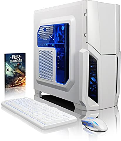 VIBOX Gaming PC - Pyro GS310-167 - 3.9GHz Intel i3 Dual Core CPU, GT 710 GPU, Budget, Desktop Computer with Game Bundle, Blue Internal Lighting and Lifetime Warranty* (3.9GHz Intel i3 7100 Kabylake Dual 2-Core CPU Processor, Nvidia GeForce GT 710 1GB Dedicated Graphics Card GPU, 32GB DDR4 2133MHz High Speed RAM Memory, Super Fast 120GB Solid State Drive SSD, 2TB (2000GB) Sata III 7200rpm Hard Drive HDD, 85+ Rated PSU, White Gamer Case, B250 Motherboard, No Operating System Installed)