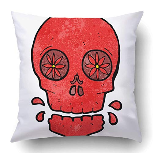 Wfispiy Wurfkissenbezugs Drawing Cartoon Mexican Candy Skull Character Clip Crazy Cute Doodle Funny Halloween Polyester Cushion Cover 18