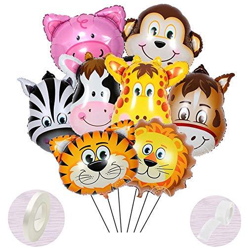 9 Stück Folienballon Tiere Helium set, Aufblasbar Luftballons Dschungel für Baby Junge Kinder Party Dekoration,Riesigen Tierkopf Ballons für1-2-3 -5-6-7-8-9-10 Jahre Geburtstags-deko-geschenk(40-60cm) - Ballon Tier Hund
