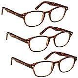 La Compañía Gafas De Lectura Especial Pack 3 Oferta Marrón Carey Lectores Mujeres Hombres Inc Caso RRR76-2 Dioptria +3,00 - UV Reader - amazon.es