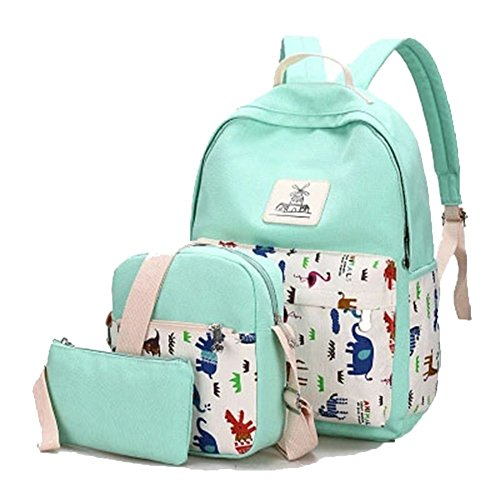 YiLianDa Donna Zaino Di Tela Zaino Ragazza Borsa Backpack Women Schoolbag 3 in 1 Verde