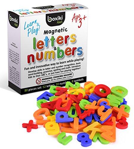 Set da 80 Pezzi Alfabeto Magnetico | ABC Giocattolo di Apprendimento | Lettere Magnetiche e Numeri in Plastica | Giocattoli per la Prima Infanzia per Imparare a Riconoscere Lettere, Numeri e Colori | Lettere Magnetiche Minuscole e Maiuscole by Boxiki Kids