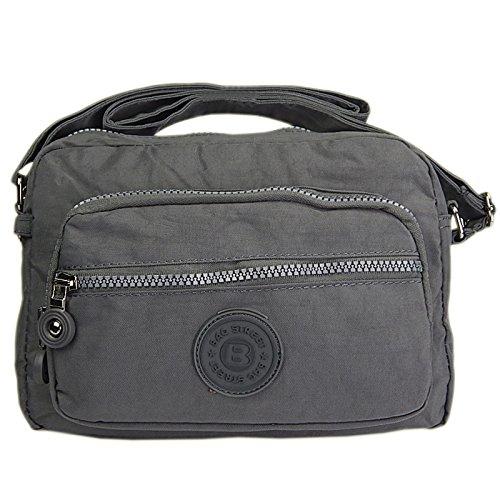 sportliche Handtasche / Schultertasche / Umhängetasche aus Nylon klein grau (Sportliche Nylon Handtasche)