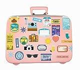 Walplus Sticker mural amovible en vinyle Art Stickers autocollant muraux Voyage bagages étiquettes papier peint Décoration DIY Décor 60X 50cm, multicolore