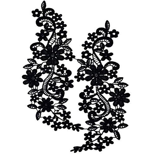 Bordado De Encaje De Cuello Escote Recortes De Venise Coser Apliques Para Mujer   Negro, # 1