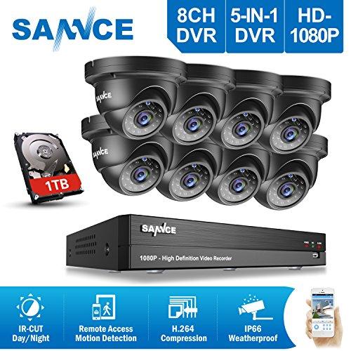 SANNCE Kit Videosorveglianza 1080P DVR 8 Canali 8 Bullet Camera 1080P Metal Videogistratore 5-in-1 Kit di Sorveglianza 2 Megapixel Visione Notturna 100ft, Motione Detection, Accesso Remoto Playback senza HDD
