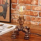 Antike industrielle Wasserleitung Tischlampe LED Schreibtisch Licht E27 Sockel (Glühbirne nicht enthalten) (Size : A)