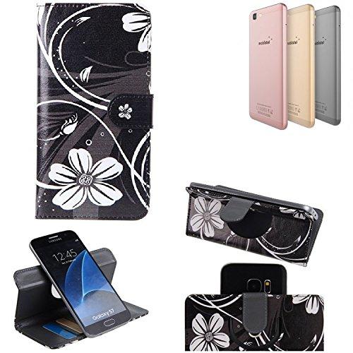 K-S-Trade Schutzhülle für Mobistel Cynus F10 Hülle 360° Wallet Case Schutz Hülle ''Flowers'' Smartphone Flip Cover Flipstyle Tasche Handyhülle schwarz-weiß 1x