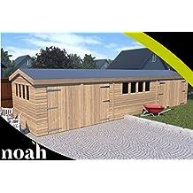 Garaje, caseta, taller para el jardín de madera muy resistente, de 6 x