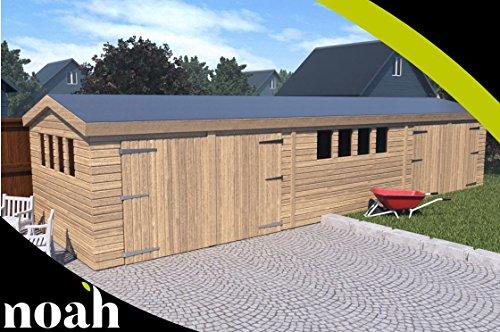 Cobertizo de jardín de madera resistente, diseño de garaje de Texan, 61 x 30,4 cm