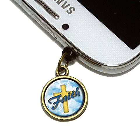 Faith Cross and Clouds Religious Inspiration Cell Mobile Phone Jack Charm Universal Fits iPhone Galaxy HTC