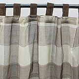 MonbeauRideau Vorhang, Kariert, aus Baumwolle, 110x 250 cm, Beige