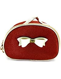 Magnas™ - Red Sparkling Shiny Cosmetic Bag Travel Bag Toiletry Bag With Bow