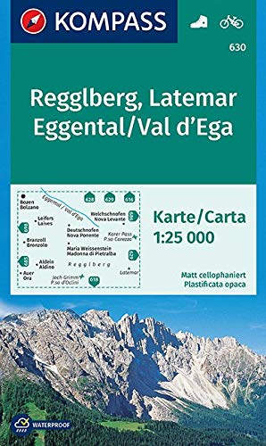 Carta escursionistica n. 630. Monte Regolo, Latemar, Val d'Ega-Regglberg, Latemar, Eggental 1:25.000: Wandelkaart 1:25 000