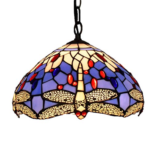 unsthandwerk/Stained Glass/Blue Dragonfly/Wrought Iron Ceiling Platte/12 Zoll Lampe E27 ()