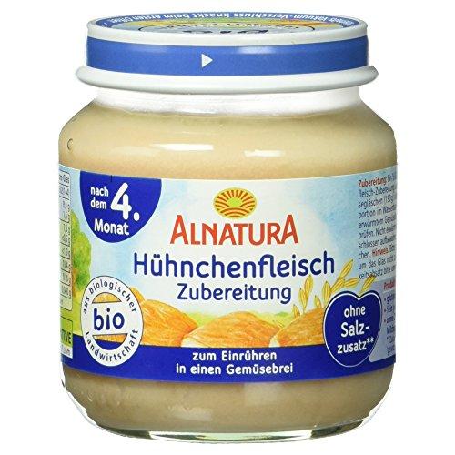 Alnatura Bio Hühnchenfleischzubereitung, glutenfrei, 6er Pack (6 x 125 g)