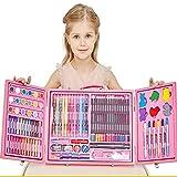 Ensemble de papeterie de peinture de pinceau pour enfants, cadeau de stylo aquarelle crayon pinceau rose bleu (Couleur : Pink)