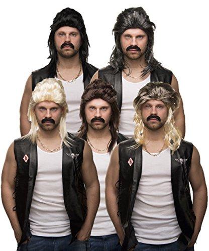 90er Rocker Jahre Kostüm - Balinco Set aus: Vokuhila Perücke + Bart + Goldkette - Rocker Prollperücke Vokuhilaperücke Proll Pimp Blond Brünette Grau Schwarz 80er 90er Jahre (Grau/Schwarz + Bart + Goldkette)