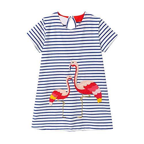Kleines Mädchen Kleid Kurzarm Baumwolle Streifen Cartoon Niedlichen Tier Applique Flamingo Muster Kleid Kind Mädchen T-Shirt 1-8 Jahre Alt (Blau) - Kleinkind-linie Kleid Muster