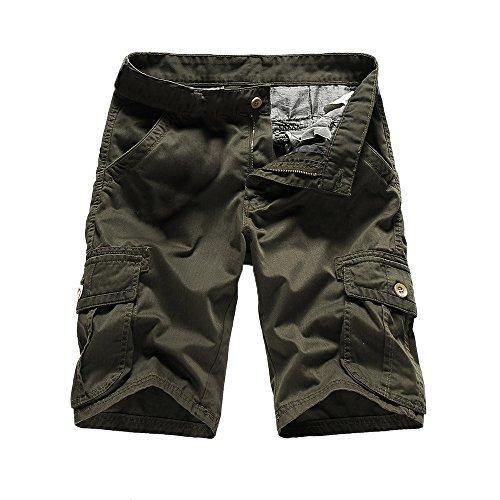 Shorts Herren Reißverschlusstaschen Pure Farbe Draußen Strand Beiläufig Arbeit Cargo Hose (Kurze Für Männer Hosen Polo)