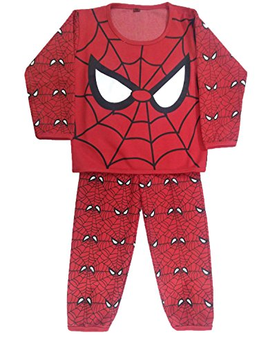 Miss U Baby Boys Baby Girls Kids High Quality Cotton Blend Night Suit Regular Comfort Fit Full Sleeves Night Wear Set Cute Graphic Print Top and Pajama Set (Red, 18 ( 12-18 Months))