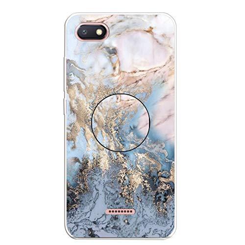 LuckyW Funda para Xiaomi Redmi 6A Caja Suave del teléfono de mármol TPU Patrón de mármol Antichoque, a Prueba de Golpes y a Prueba de Polvo Carcasa de telefono Oro y Gris