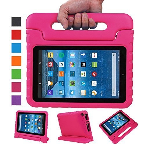 NEWSTYLE Fire 7 2015 Tablet Hülle Eva Stoßfeste Schutzhülle Tragbar für Kinder mit Ständer Schutzhülle Standfunktion für Amazon Fire 7.0 Zoll (5. Generation - 2015 Modell) Tablet,- Rosa (Hd 7, Kindle Fire Kid-fall)