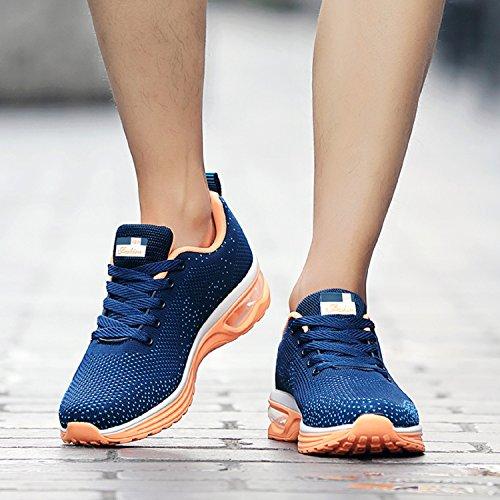 Unisex Herren Damen Sneakers Bequeme Laufschuhe Schnürer air Profilsohle Sportschuhe Turnschuhe Blau
