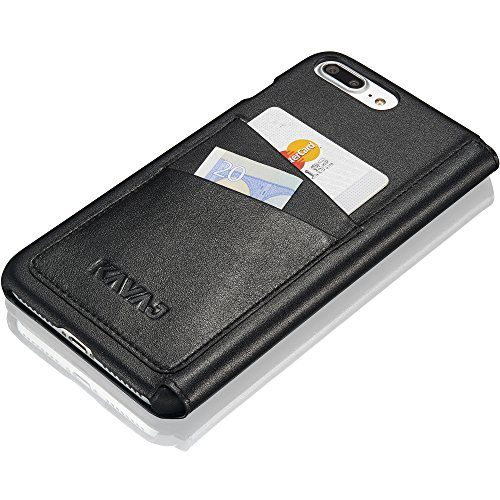 """KAVAJ Coque Cuir Sacoche """"Dallas"""" pour Apple iPhone 8 Plus iPhone 7 Plus noir en cuir véritable avec compartiment pour cartes de visite. Fin étui à rabat comme élégant accessoire Noir"""