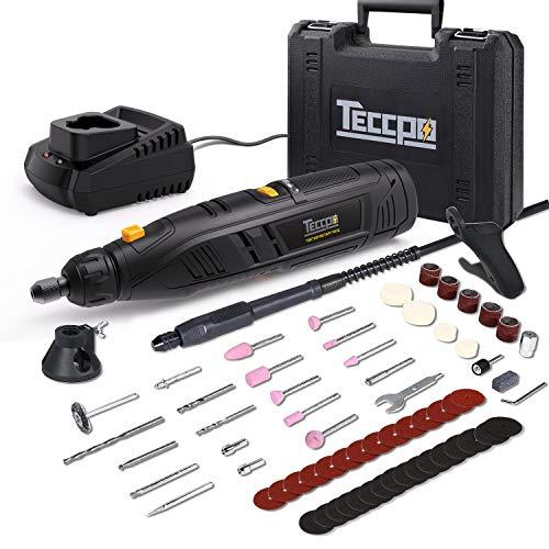 Multiherramienta con Bateria, TECCPO 12V Herramienta Rotativa, 6 Velocidad Variable 5000-25000RPM, Tamaño de Pinza 0.8mm - 3.2mm, 2.0 Ah Li-ion Batería, con 80 Accesorios para artesanos y mejoras para el hogar - TDRT03P