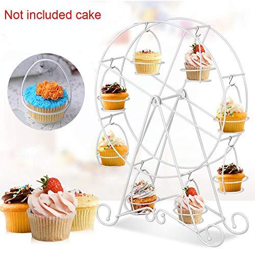 pcake Ständer Metall Draht Rahmen - Dessert Träger Display für Zirkus Party Kinder Geburtstag Hochzeit und Halter 8 Cupcakes - Weiß, Free Size ()