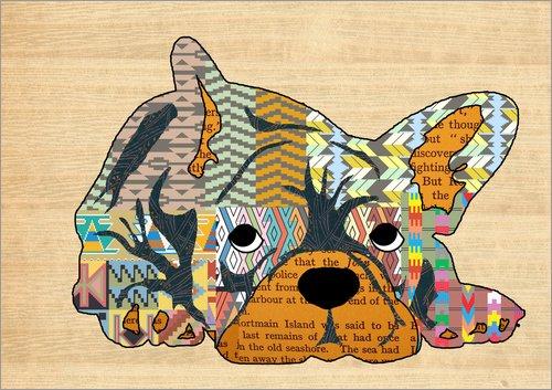 Posterlounge Cuadro de PVC 18 x 13 cm: Bulldog Collage de GreenNest