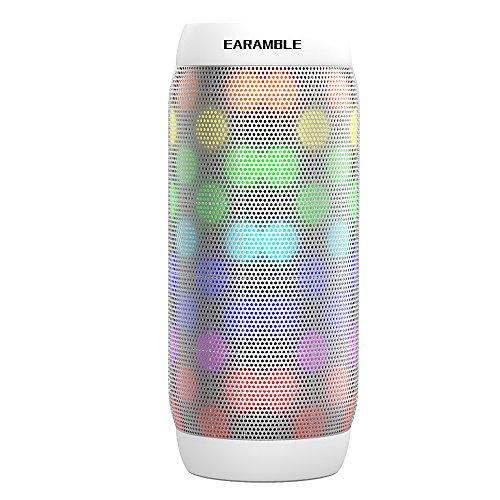 Earamble LED Bluetooth Lautsprecher,10Watt, Portabel, Bluetooth 4.2, Hifi Stereo Sound, Wasser Spritzwassergeschützt, eingebautes Mikrofon, unterstützt alle Mobiltelefone, Laptop, SD Slot, Computer (Weiß)