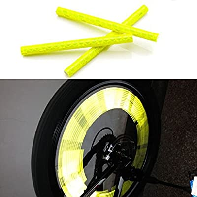kalaixing Marke Fahrrad Rad Speichen Reflektor reflektierende Sicherheit Fahrrad Bike Rad Felge Mount Clip Tube Warnung Streifen-Gelb