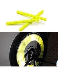 kalaixing Marke Fahrrad Rad Speichen Reflektor reflektierende Sicherheit Fahrrad Bike Rad Felge Mount Clip Tube Warnung Streifen–Gelb