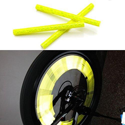 KaLaiXing - Bacchette catarifrangenti a clip, da applicare sui raggi delle ruote da bicicletta, da montare in prossimità del cerchio, per la sicurezza stradale, colore: