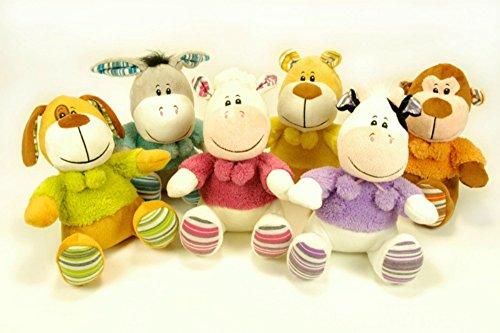 CAPRILO Lote de 6 Peluches Infantiles Decorativos Animales Surtidos Multicolores. Juguetes Infantiles. Muñecos para Bebés. Regalos y Juguetes Baratos. 20 cm.
