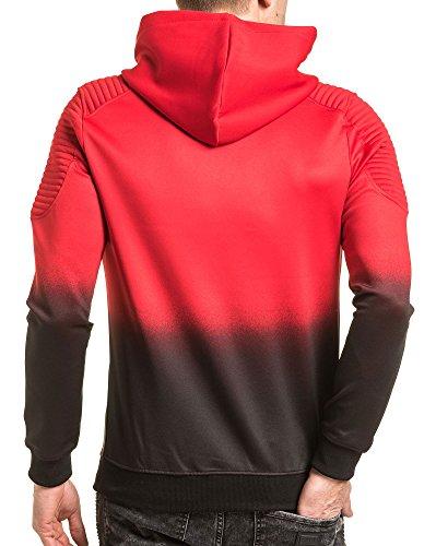 Gov Denim - Reißverschlussjacke schwarz und rot gerippt mit Kapuze Mann Rot