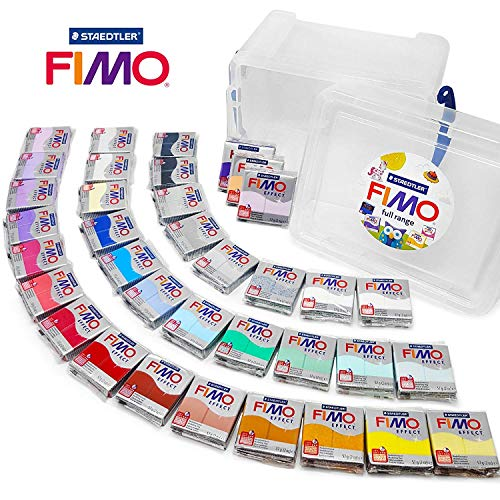 FIMO Effect 57g Polymer Modelling Moulding Oven Bake Clay - Full Range of all 36 Colours in Clear Storage Tub -
