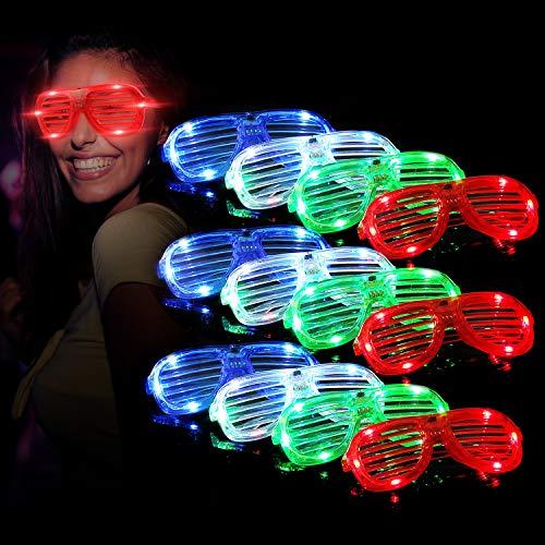 Mulucky Unisex Fashion Kunststoff Glow Light LED-Leuchte bis Shades Sonnenbrille Set von 12