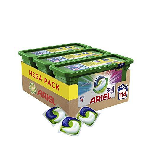 Ariel 3en1 Pods - Ecodoses Couleur & Style - Lessive en capsules - 114 lavages (pack de 3x38 capsules)