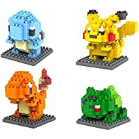 Pokemon Building Blocks - 4 Character Micro nano -Diamond- minifigure Brick Set - Children's toys DIY Assemble ( Pikachu, Charmander, Squirtle, Bulbasaur )